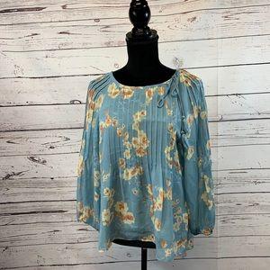 Sundance Floral Silk Pleated Blouse Top Medium